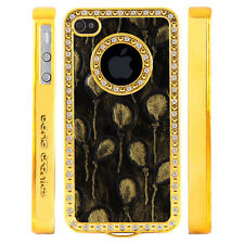 Apple iPhone 5 5S Gem Crystal Rhinestone Black Gold Balloons Leather case