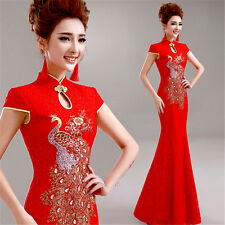 Red Formal Evening Dress Chinese Wedding Bridal Dress Mermaid Gown Peacock Y268H