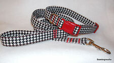 Houndstooth Black & White Handcrafted Dog Collar & Leash Set- All Sizes- USA