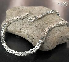 "Byzantine Chain 0.098"" Bracel Square 4 Rims Royal Necklace 925 Silver 6.29-9.84"""