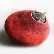 Wool Cat Bed House Igloo Cave Red Hand Felted