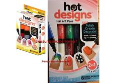 Hot Designs Nail Art Pens - Choose Basic Beauty or Glitz and Glam Colors 6 pens