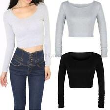 Women Long Sleeve Crop Top Round Neck tights Cropped Top Short Shirt Blouse D42