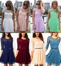 Women  Lace Evening Formal Cocktail Ball Gown Party Pleated Floral Mini Dress N1