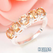 Holiday Jewelry Gift Round Pink Topaz Morganit Gems Silver Ring US Size 7 8 9