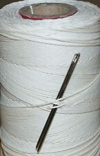 STRONG UNWAXED LINEN HAND SEWING THREAD FOR LEATHER/CANVAS & 2 NEEDLES - NATURAL