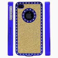 Apple iPhone 5 5S Gem Crystal Rhinestone Gold Glitter Shimmer Plastic case