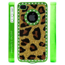 Apple iPhone 5 5S Gem Crystal Rhinestone Gold Leopard Print Glitter Plastic case