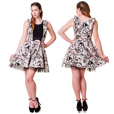 Banned Apparel Bats & Butterflies White Pink & Black Ruffle Vintage Style Dress
