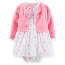 Carters Newborn 3 6 9 12 Months Cardigan & Dress Set Baby Girl Clothes Outfit