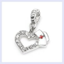 STR Silver Occupation Heart Nurse Cap CZ Dangle Bead f/ European Charm Bracelet