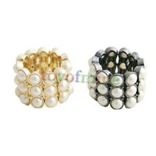 Europe Fashion Elegant Accessories Pearls 3 rows Stretch Ring Rings 2 Colors