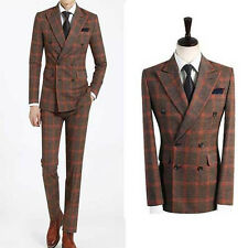 BROWN double breasted checks tweed suit slimfit men s wedding tuxedo suits UK US