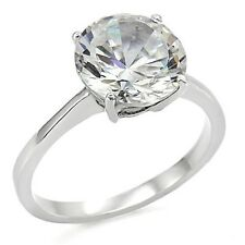 Women's New Stainless Steel 10mm Round CZ Solitaire Engagement Ring - Sizes 5-10