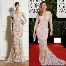 Mermaid Evening Prom Party Formal Dresses Long Sleeves Celebrity Gown Champagne