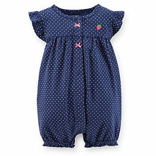 Carters Newborn 3 6 9 12 18 24 Months Strawberry Romper Baby Girl Clothes Blue