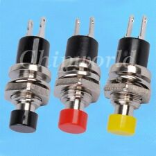 5PCS Mini Lockless Momentary ON/OFF Push button Switch Black Red Yellow