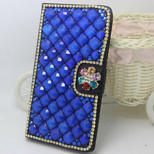 Blue pearls crystal flowers PU leather wallet flip cover case skin for Samsung