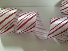 Chunky Candy Cane Red & White Christmas Cake - Luxury Wire Edged Ribbon NEW2014