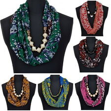 Ethnic Bohemian Soft Wrap Neck Beads Pendant Pattern Scarf Pearl Collar Necklace