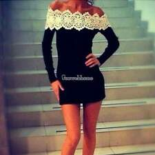 Off Shoulder Lace Mini Dress Womens Bodycon Cocktail Club Party Evening Dress