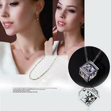 Fashion Sterling Girl Love Magic Cube Crystal Necklace Pendant Decoration J64
