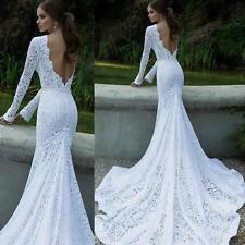 Glamorous Wedding Dress Evening Formal Bridal Gown Lace Long Dress Full length