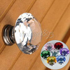 5 Pcs Diamond Shape Crystal Glass Knob Cabinet Cupboard Drawer Hardware Handle