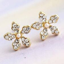 Attractive Yellow Gold Filled Bright CZ  Girls Flower Stud Earrings D0925