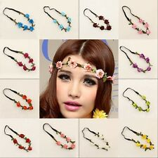Women Girls Boho Floral Garland Hairband Wedding Party Flower Elastic Headband