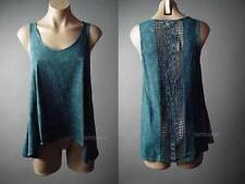 Urban Outfitters Acid Wash Crochet Back Cutout Trapeze Top 117 mv Shirt XS L