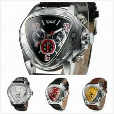 JARAGAR Men Self-winding Mechanical Automatic Triangle Dial Leather Wrist Watch