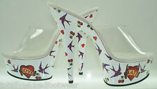 "Motif 601LH White Love & Hate Tattoo Print Platform Clear Upper 6"" Heel Size 8"