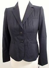 Calvin Klein Navy blue pinstripe turnlock closure career jacket blazer 8P