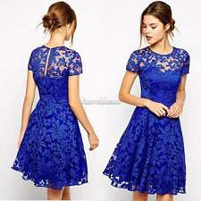 Sexy Club Lace Dress Ladies Transparent Mini Party Dresses Short Sleeves O5