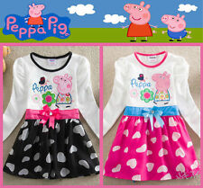 UK White Peppa Pig Pageant Easter Party Baby Kids Gift Girls Dress Size 1 to 6