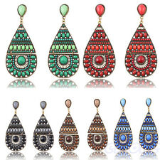 Women Chic Vintage Bohemian Handmade Shell Drop Shaped Dangle Stud Earrings