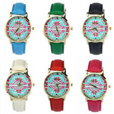 1PC Fashion Tribal Pattern PU Leather Woman Quartz Wrist Watches Watch Joli