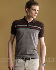 GUCCI Mens beige & brown DIAMANTE 100% cotton WEB stripe POLO shirt NWT Authentc