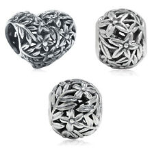 925 Sterling Silver FILIGREE FLOWER & LEAF European Charm Bead
