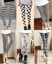 New Women Ladies Slim Full Length Patterned Leggings Printed Stretchy Pant Black