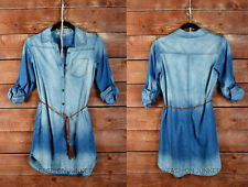 DARK BLUE DENIM 89 Wash Belted SHIRT DRESS BUTTON UP TOP Basic Chambray S M L 1X