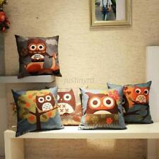 Fashion Cotton Linen Owl Pillow Case Home Room Decoration Sofa Cushion Cover J62