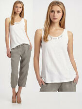 $168 Eileen Fisher Linen Jersey Embellished Neckline Scoop Neck Tank Top