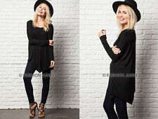 BLACK ASYMMETRICAL LONG SLEEVE Top Off the Shoulder Loose Shirt Tunic S M L
