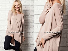 TAUPE ASYMMETRICAL LONG SLEEVE Top Off the Shoulder Loose Shirt Tunic NEW S M L