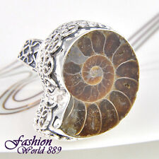 Antique Hot Sales Fashion Natural Ammonite Fossil Gemstone Silver Ring