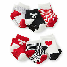 Carters Newborn 3 12 24 Months 6-pk Socks Baby Girl Bow Red White Black