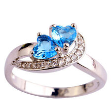 Free Ship Heart Cut Blue & White Topaz Gemstones Silver Ring Size 6 7 8 9 10 11