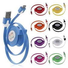 Retractable Micro USB Charger Cable Sync Data Flat Cord For Samsung HTC Phone